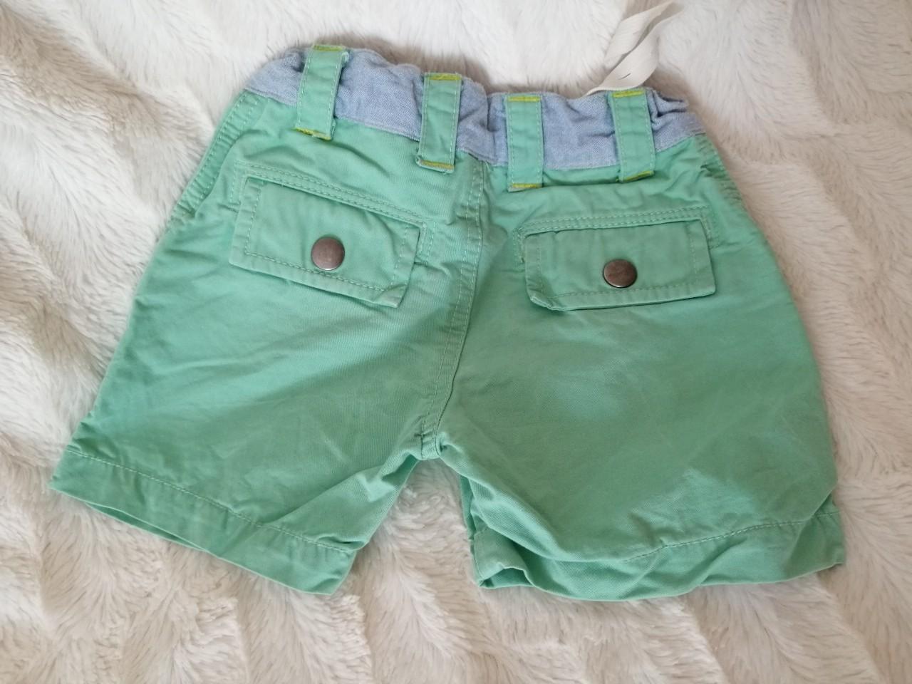 62e480485d1827 Krótkie spodenki zielone, pistacja jeans, kieszonki rozm. 74-80 2