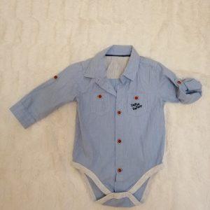 Body koszula podpinane rękawy, rozmiar 74-80